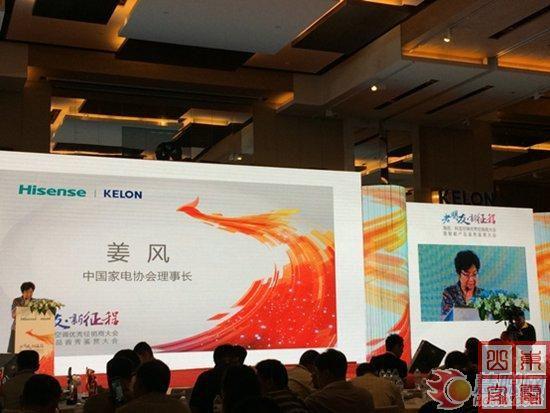 中国家电协会理事长姜风发表演讲